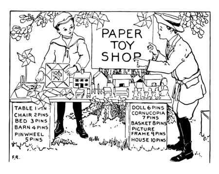 A seller sale his toys made up of paper and a child buying his toys, vintage line drawing or engraving illustration. Ilustrace