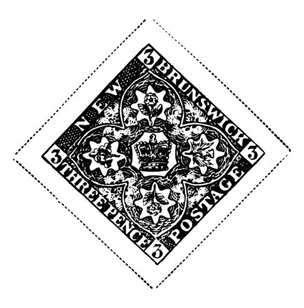 New brunswick stamp with crown surrounded by four flowers whole in a single flower vintage line drawing. Иллюстрация