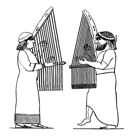 Assyrian Music held music in honor and empoyed it for liturgical purposes, vintage line drawing or engraving illustration. Ilustração
