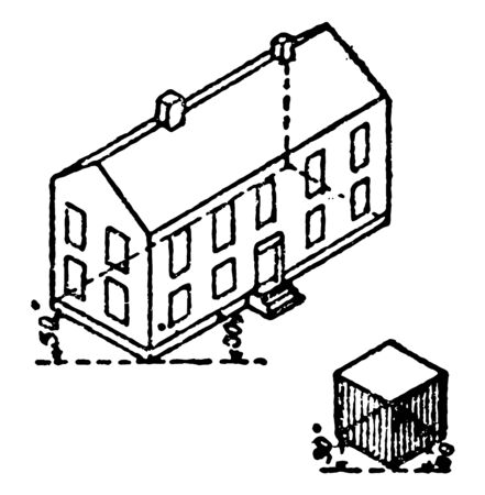 This image shows how to draw using a method of drawing a 3-dimensional shape using 2, vintage line drawing or engraving illustration.