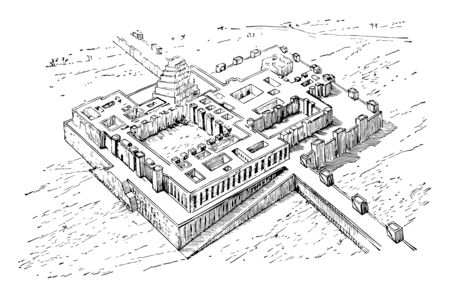 The image shows the Assyrian Palace. It's a big old palace a long time ago. There is a river next to the Assyrian Palace, vintage line drawing or engraving illustration.