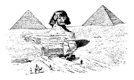 The Great Sphinx made by Egyptians with pyramids in the background, vintage line drawing or engraving illustration. 向量圖像