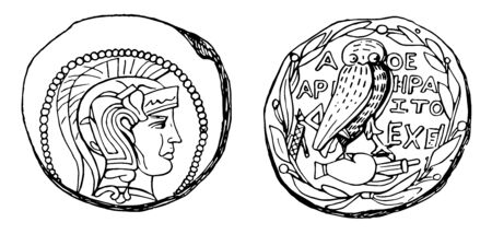 This image consists of two sides of coins. On the surface of the coin there is a Drachma attic face. Another side of the coin consists of a bird with a letter text, vintage line drawing or engraving illustration. Ilustracja