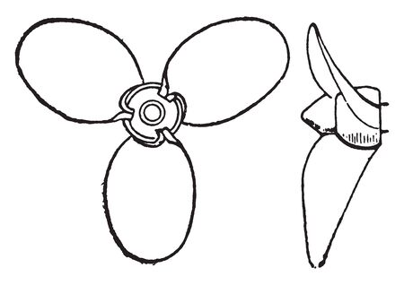 Thornycroft propeller is a common form of screw propeller, vintage line drawing or engraving illustration.