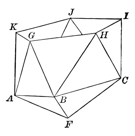 Illustration of the lower part of an icosahedron. The base consists of a regular pyramid, in which equilateral triangles are inserted to form the next section of the icosahedron, vintage line drawing or engraving illustration.