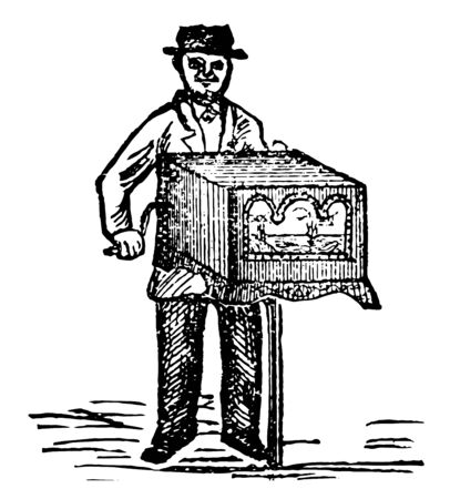 Hand organ is a portable organ played by means of a cylinder set with pins and staples, vintage line drawing or engraving illustration.