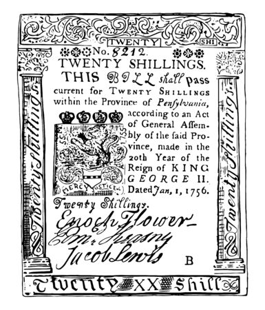 This bill is made from paper. It is Twenty Shillings Bill Pennsylvania currency from 1756, vintage line drawing or engraving illustration.