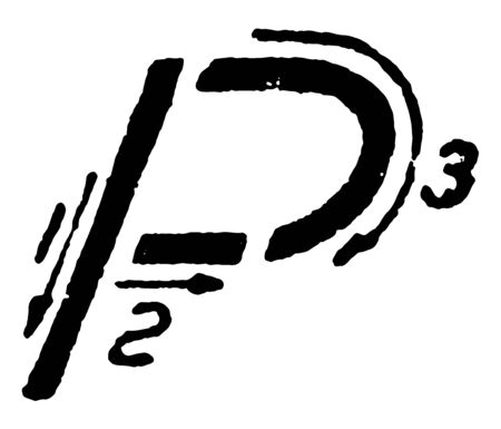 This image shows the directions of stroke in the writing of the letter P using inclined capital, vintage line drawing or engraving illustration.