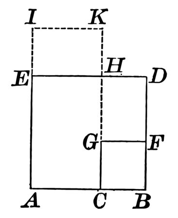 An image that shows a square. Square built on the difference of lines. Four built squares, vintage line drawing or engraving illustration.