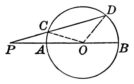 A diagram of a circle with a diameter, radius, lines, triangle and segment drawn, vintage line drawing or engraving illustration.