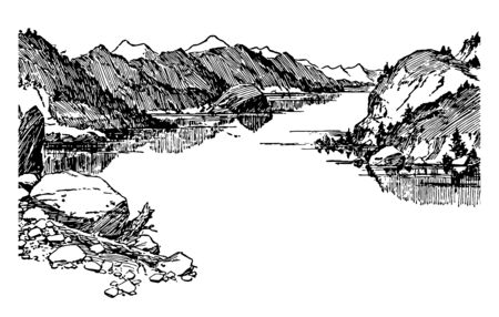 Lake Klamath is a large shallow fresh water lake situated east of cascade range in south central Oregon, US vintage line drawing.