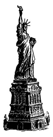 Statue of liberty is a staute of robed woman hold a torcg in her right hand above her head and carries a tabula ansata inscribed a roman numerals, JULY IV MDCCLXXVI vintage line drawing.