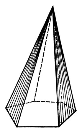 This image is an example of a pyramid with a hexagonal base, vintage line drawing or engraving illustration.