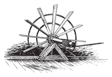Paddle Wheels is a steamship or riverboat powered by a steam engine that drives paddle wheels to propel the craft through the water, vintage line drawing or engraving illustration.
