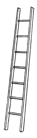 Illustration of the staircase is not vertical on the floor, if it is installed on the floor and leans any building, and then it will be a triangle, vintage line drawing or engraving illustration.