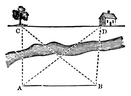 An image showing square. This image showing squares and triangles inside the square, vintage line drawing or engraving illustration. Çizim
