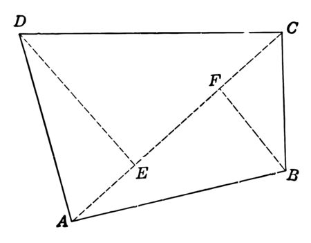 An example of a discern made of 4 smaller figures (triangles), vintage line drawing or engraving illustration.