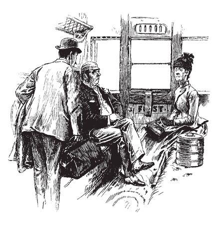 Egoistisch zu reisen scheint eine deutlich egoistische Tendenz zu haben, eine Vintage-Linienzeichnung oder eine Gravurillustration.