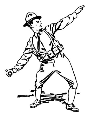 This illustration represents Soldier Throwing Grenade, vintage line drawing or engraving illustration. Illustration