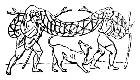 A scene of two hunters holding a Retis , vintage line drawing or engraving illustration.