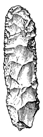 The image shows Neolithic Implements Stone Pick. This large stone becomes a stone from the Neolithic age, vintage line drawing or engraving illustration. Stock fotó - 132954318