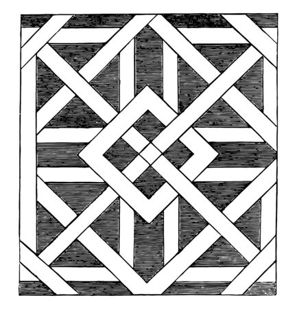 The image shows the square pattern along with its different pattern that generates a unique design, vintage line drawing or engraving illustration.
