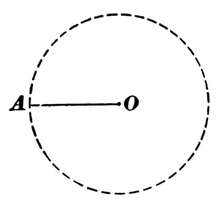 A diagram of a circle with the OA radius drawn and labeled, vintage line drawing or engraving illustration.