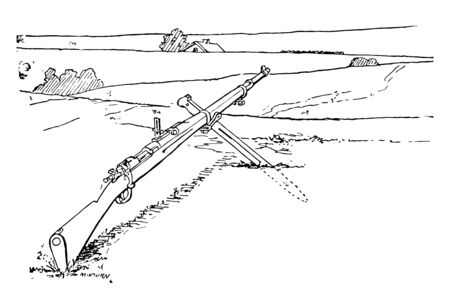 This illustration represents Rifle resting on the bayonet, vintage line drawing or engraving illustration. Illustration