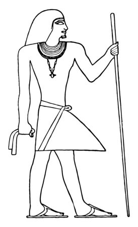 Illustration of a man wearing a triangular wrap skirt which is worn by Egyptian priests during the 5th dynasty, vintage line drawing or engraving illustration. Illusztráció