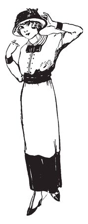 A woman with hat looking at something, vintage line drawing or engraving illustration