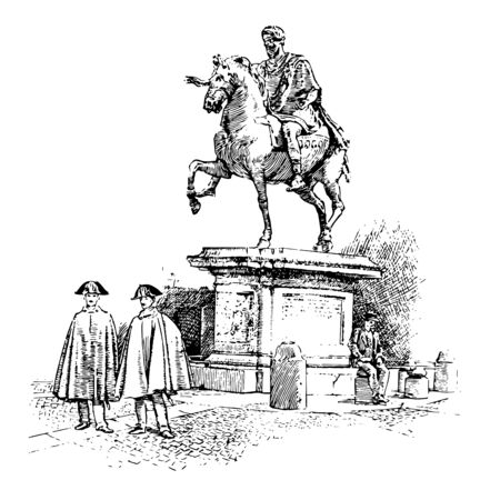 This image shows the Statue of Marco Aurelio. There are 2 people in front of the statue and one is sitting near the statue, vintage line drawing or engraving illustration.