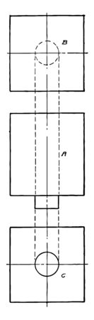 The image shows the projection of a square bar with a cylindrical portion, vintage line drawing or engraving illustration.
