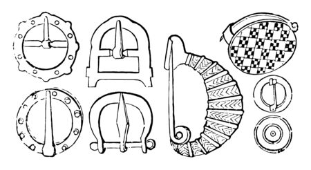 The different clasps used in Ancient Greece, vintage line drawing or engraving illustration.