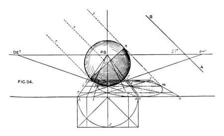 A balloon casts its shadow on the floor; the solar rays are parallel to the image in a perspective of 45  with the horizon, vintage line drawing or engraving illustration.
