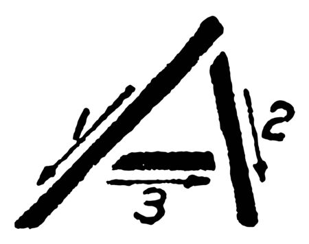 Inclined Capital Letter A which Stroke technique for writing A in Inclined Capital, vintage line drawing or engraving illustration.
