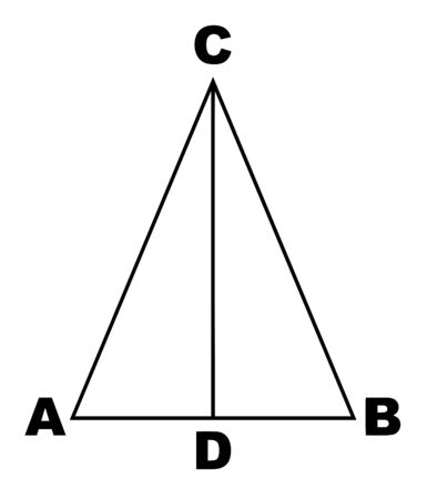 This is an image that shows an isosceles triangle. In two triangles, the CD line of both sides has been divided into both triangles, vintage line drawing or engraving illustration.