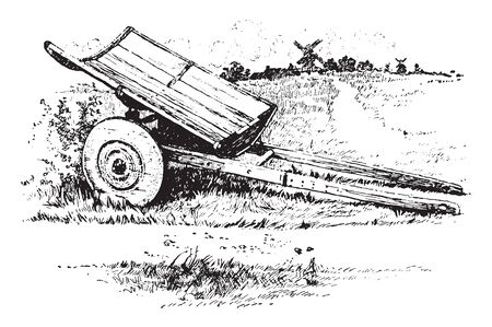 Swedish Grain Cart is a trailer towed by a tractor with a built in auger conveyor system usually with a large capacity, vintage line drawing or engraving illustration.
