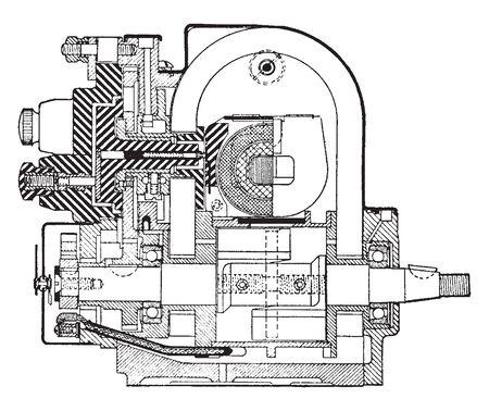 Splitdorf Distributor in which the stationary member of 12 cylinder splitdorf distributor, vintage line drawing or engraving illustration.