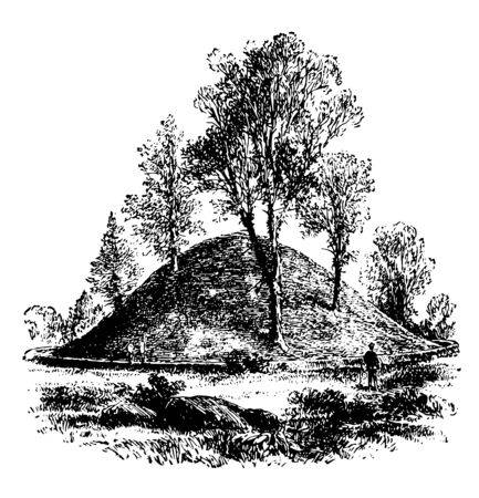 Heap of sand made by native Americans in Marietta, Ohia vintage line drawing.  イラスト・ベクター素材