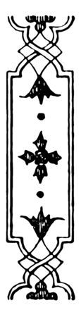 An image of Band Motif. There is a floral design that is shown in the Figure, vintage line drawing or engraving illustration. Illustration