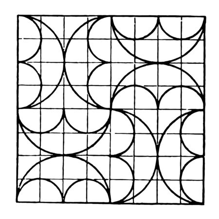 The image shows a beautiful tiling design along with a repetitive design pattern. The square in which there are ten rows and ten columns and each row has an arch, generates a creative half-moon design, vintage line drawing or engraving illustration. Ilustração