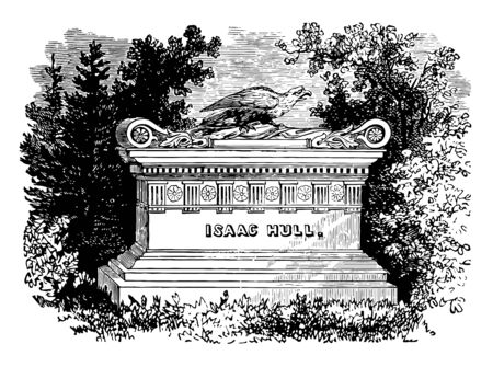 Isaac Hull's Monument in Philadelphia vintage line drawing.