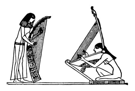This illustration represents Egyptian Harp, vintage line drawing or engraving illustration.