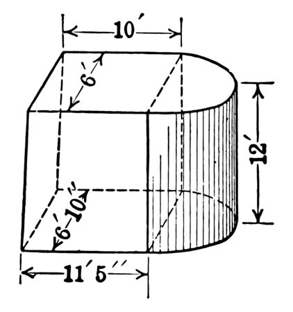A diagram of a composite figure formed by a truncated trunk and half a cylinder. The edges of Frustum go from 6 feet to 11 feet to 5 inches and the cylinder has a height of 12 feet, vintage line drawing or engraving illustration.