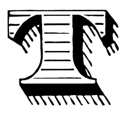 Shaded initial of T which is Capital, vintage line drawing or engraving illustration.