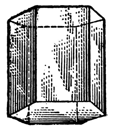 An image showing the diagram of the hexagonal prism. The hexagonal prism is a prism with a hexagonal base, vintage line drawing or engraving illustration. Banco de Imagens - 132954698