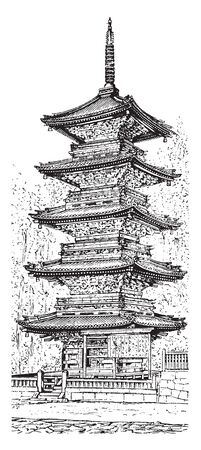 Pagoda are similar to those of China and even more elaborately carved, vintage line drawing or engraving illustration.
