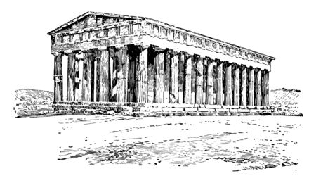 The Temple of Hephaestus or also known as Theseum, vintage line drawing or engraving illustration.