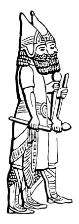 The image shows Assyrian figures. There are two servants who are outside a palace in ancient Assyria, vintage line drawing or engraving illustration.