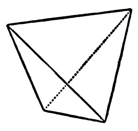 The image shows that it is surrounded by four equilateral triangles and is equal to the regular tetrahedron of the geometry, vintage line drawing or engraving illustration. 向量圖像